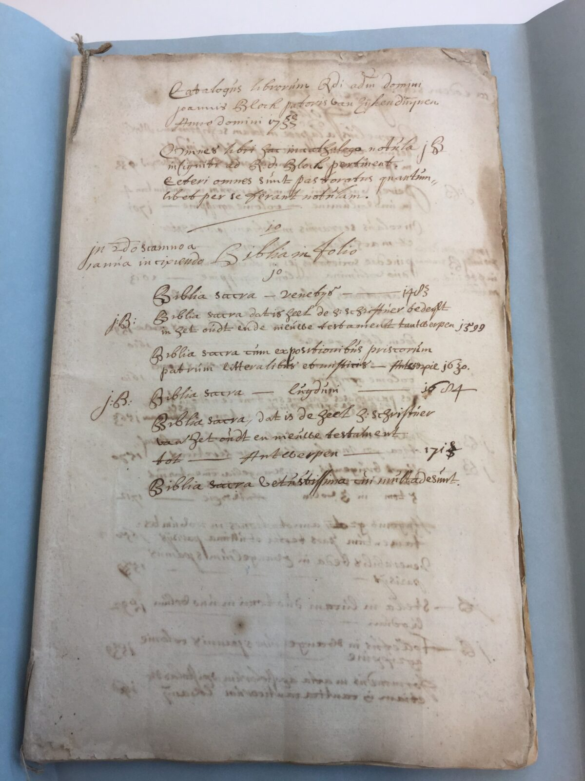 First page of the inventory of J. Blok